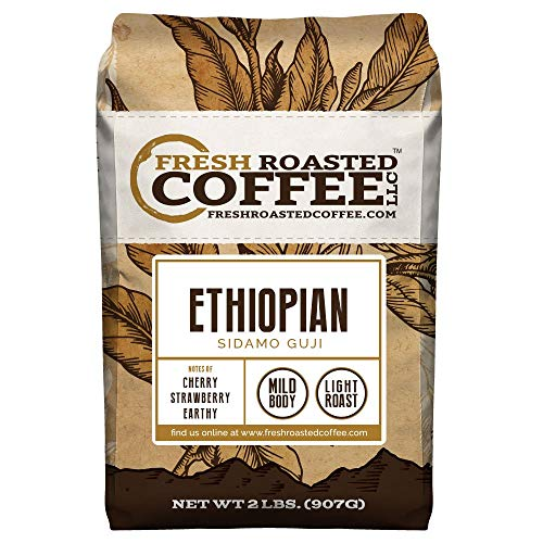 Fresh Roasted Coffee LLC, Ethiopian Sidamo Guji Coffee, Light Roast, Single Origin, Whole Bean, 2 Pound Bag - Ethiopian Yirgacheffe Whole Bean