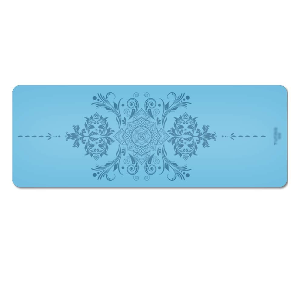 XF ヨガ マット ヨガマット - 天然ゴム、肥厚と伸長、ノンスリップ、男性と女性のヨガフィットネスピラティス運動マット、フロアマット、サイズ:183cmX68cm フィットネストレーニング (色 : Sky blue)  Sky blue B07MRBZQTY