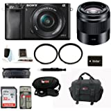 Sony Alpha A6000 Mirrorless Digital Camera with 16-50mm Lens (Black) + Sony SEL50F18B 50mm f/1.8 Mid-Range Lens for Sony E Mount Cameras (black) + 32GB Memory Card + Camera Gadget Bag + Accessory Kit