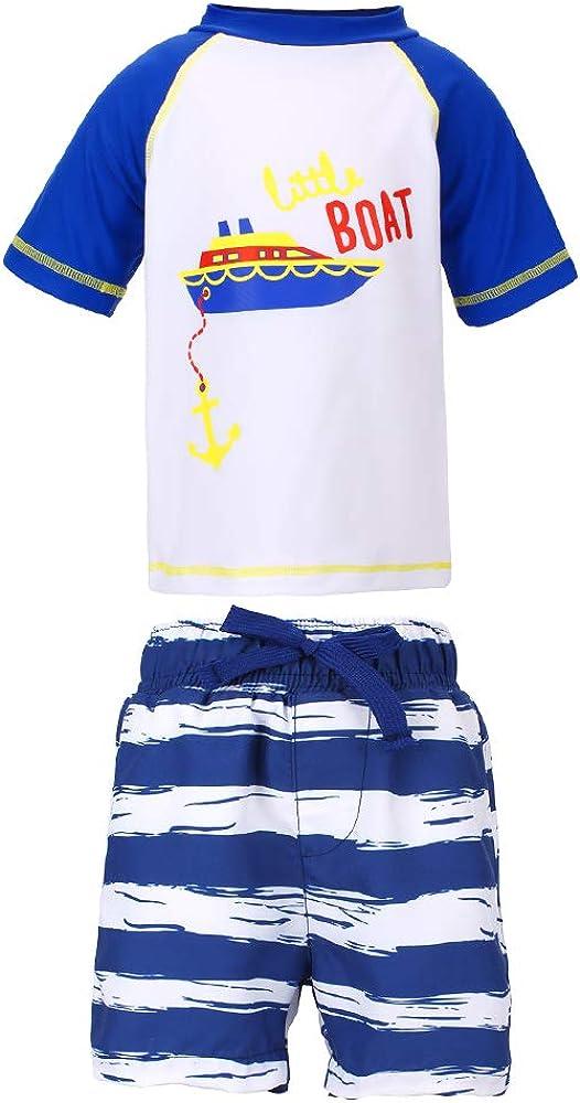 LACOFIA Maillot de Bain Deux Pi/èces pour B/éb/é Gar/çon Ensemble T-Shirt et Shorts de Bain pour Enfants S/échage Rapide Protection Solaire UPF50+