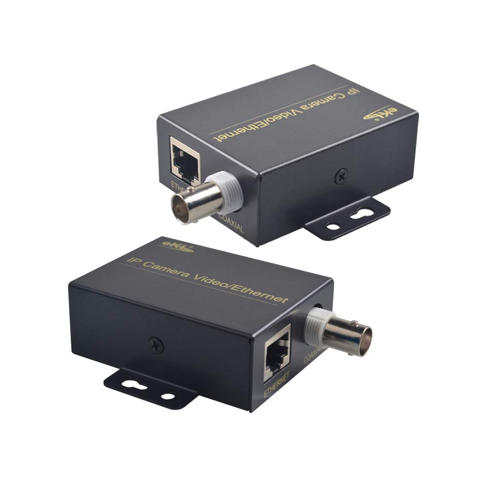 eKL IP Extender Kit Over Coax Cable Up to 6560ft(2000m) EOC Converter Ethernet Extender Set for IP Security CCTV Cameras