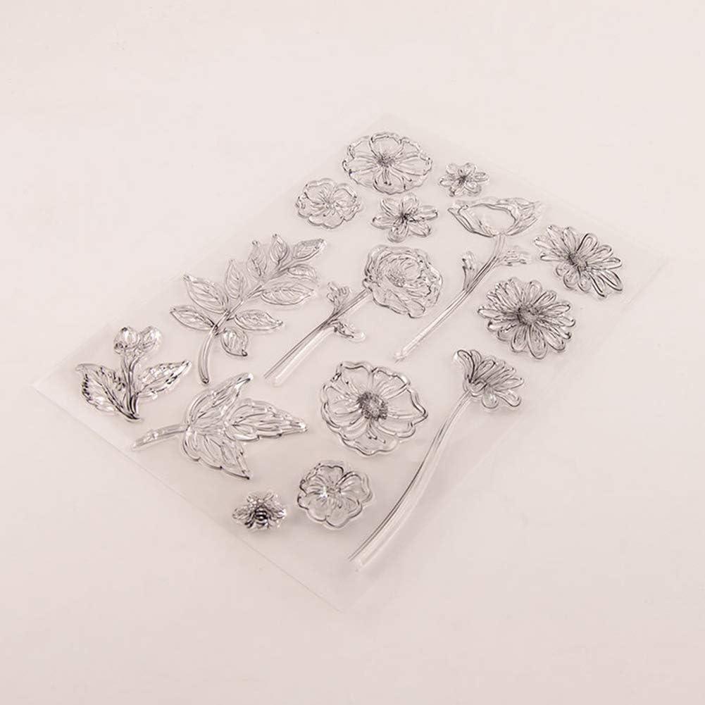 Stamp Transparent Stamp,YESZ DIY Scrapbooking Art Flower Branch Clear Stamp Seal DIY Scrapbooking Card Making Photo Album Decor