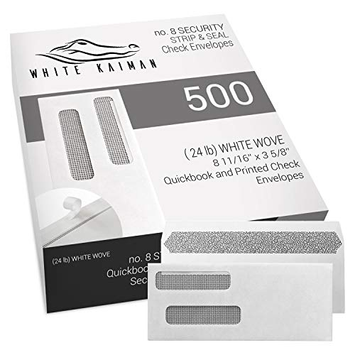 (White KaimanⓇ 500 ct #8 Peel & Seal Double Window Security Envelopes - Designed for Quickbooks & Business Printed Checks - 3 5/8