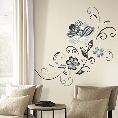 RoomMates Black And White Flower Scroll Peel And Stick Giant Wall Decals