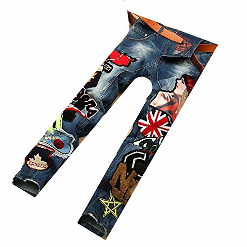 VOYAGEA European station men's jeans men's straight trousers embroidered badges pants splicing tide male jeans (34W, - Beckham Cut Victoria