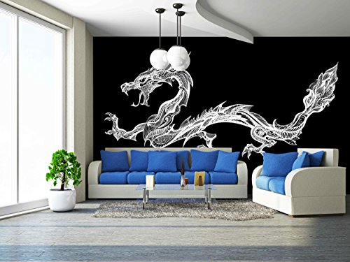 Vector Doodle White Dragon Isolated on Black Background