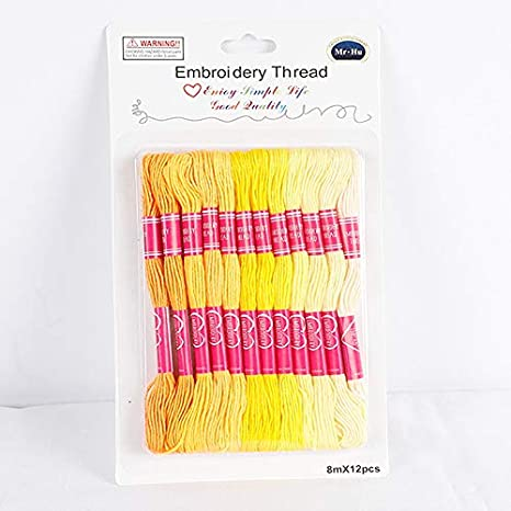 CHZIMADE Six Strand Cross Stitch Embroidery Floss Thread 8.7 Yards 12pcs BLACK