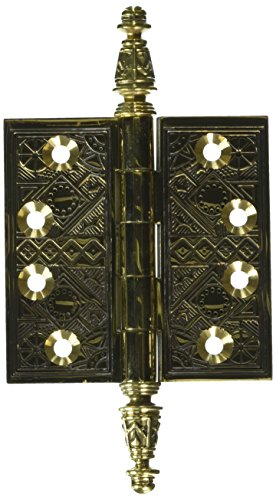 Deltana DSBP35U3-UNL Solid Brass Ornate 3 1/2-Inch x 3 1/2-Inch Square Corner Hinge