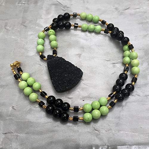 Long black green pendant necklace Color block stone necklace Natural onyx chrysotine titanium druzy jewelry Statement multicolor jewelry