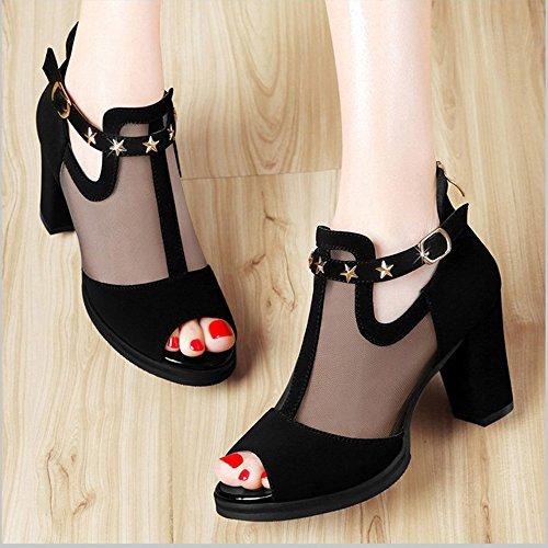Sandals ZHIRONG Women's Fashion Fish Mouth Thick Heel Net Yarn Hollow High Heels Roman Shoes 8CM (Color : Black, Size : EU35/UK3/CN34) Black