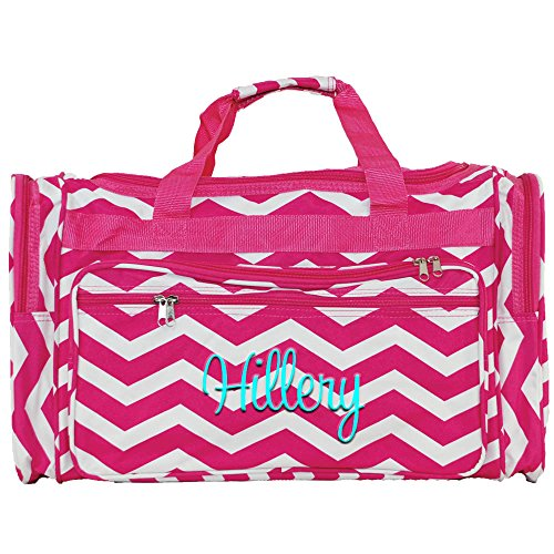 Personalized Hot Pink Chevron Weekender Duffle Bags 22