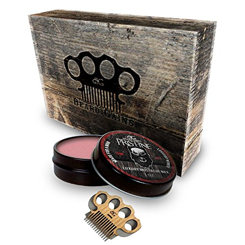 Beard Gains – Firm Hold Pristine Scent Mustache Wax Gift Set Kit w/ Brass Knuckles Style Mini Comb Scoop! Red Color Designed for Red Hair – No Haze Formula