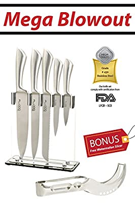 "6 Pc. Stainless Steel Kitchen Cutlery Knife Block Set - 8"" Chef Bread Carving 4½"" Utility 3½"" Paring Knives & Stand, For Fruit Chicken Fish Vegetable & More"