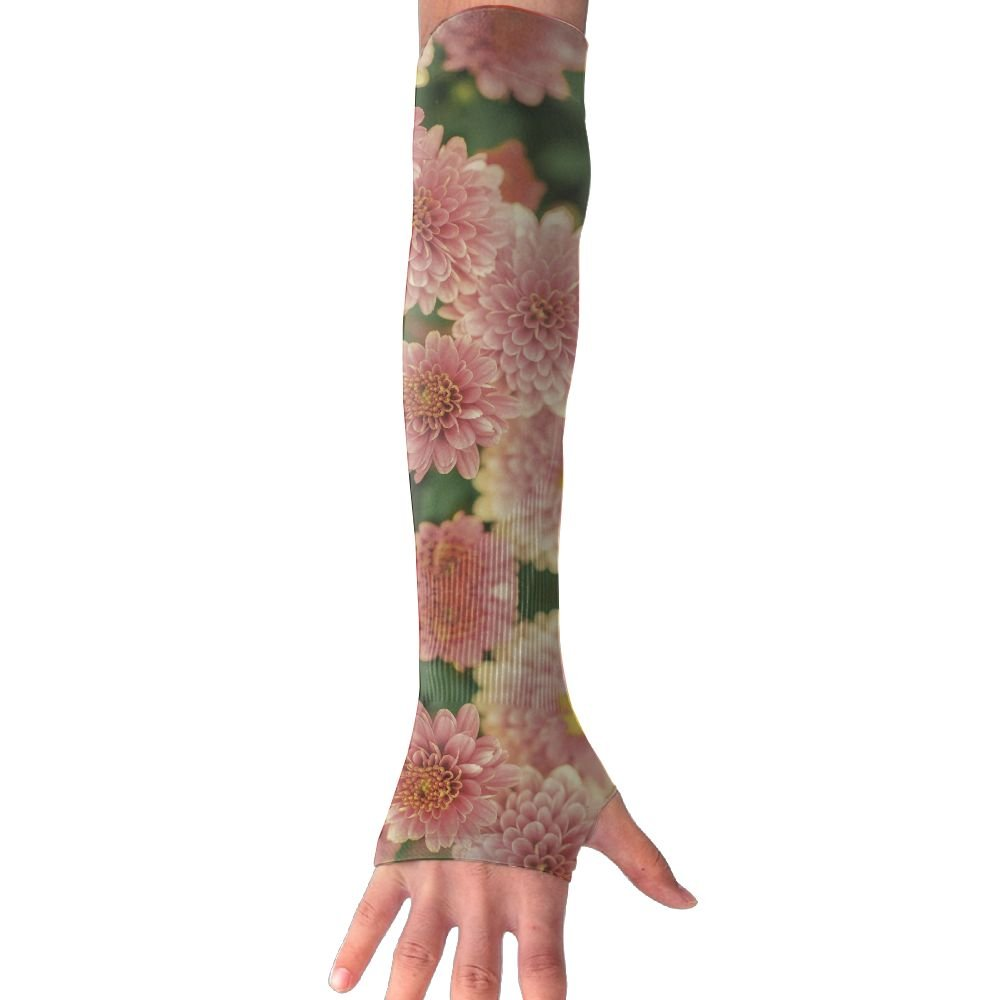Blooming Summer Floral UV Sun Protective Outdoors Stretchy Cool Arm Sleeves Warmer Long Sleeve Glove