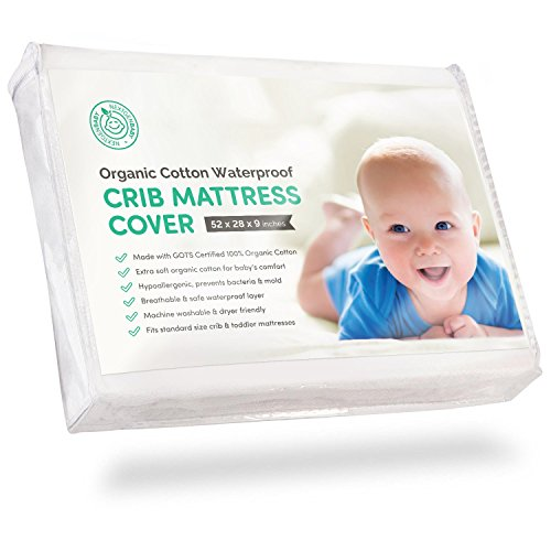 Certified Organic Cotton Waterproof Crib Mattress Pad Cover with 100% Organic Cotton Filling - Breathable & Hypoallergenic - (Plastic Cover For Crib Mattress)