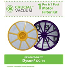 Dyson DC14 Washable Pre & Post Motor Filters, Part # 905401-01 (90540101) & 901420-02, Designed & Engineered by Crucial Vacum