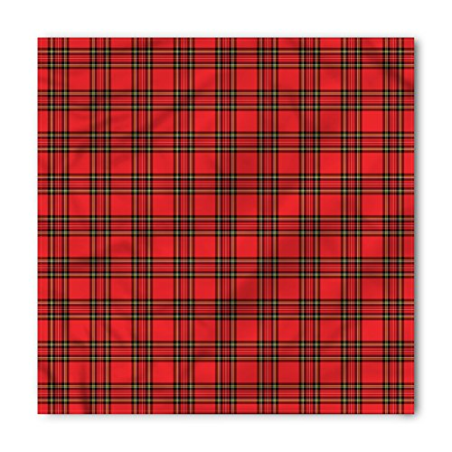 (Lunarable Retro Bandana, Scottish Striped Plaid Design, Unisex Head and Neck Tie)