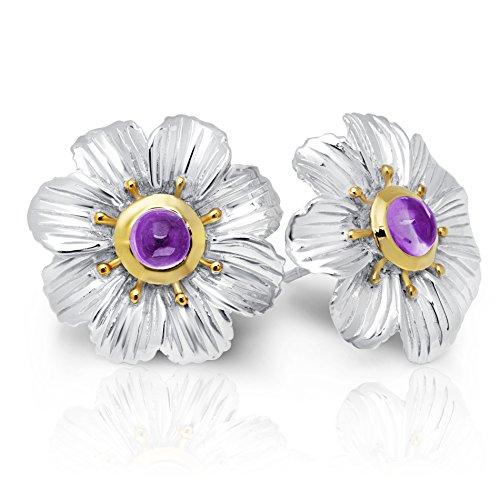 Style Amethyst Cabochon Earrings - Amethyst Flower Earrings in Sterling Silver