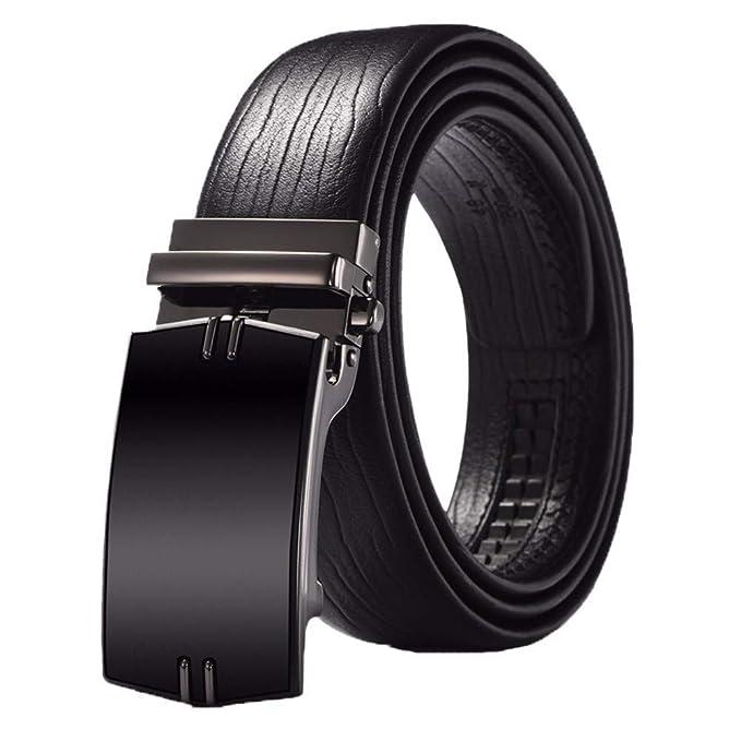 JIUSHIGUANG Cinturones Cinturón De Cuero Negro De Los Hombres Negro Hebilla  Automática De Negocios De Doble Cara De Piel De Vaca Casuales Suave 14a46d501288