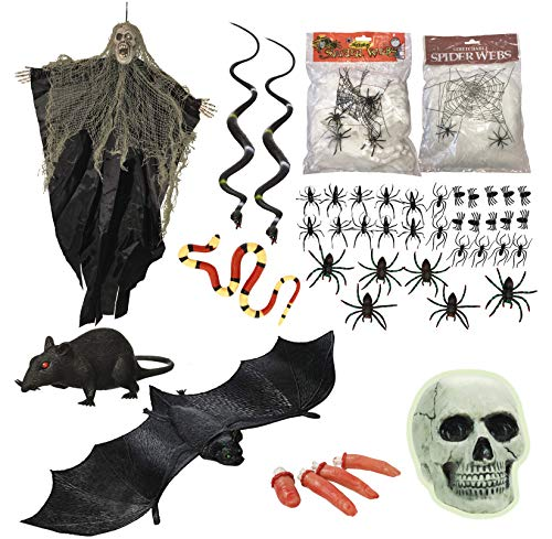 Halloween Decorations Assorted Kit With A Scary Props Bundle Bat Rat Snakes Set Spiders Hanging Zombie Spider Webs Glow In The Dark Skull and More Halloween Party Decor -