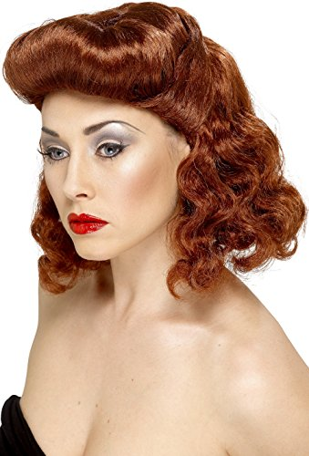 Smiffys Women's Auburn Pin Up Girl Wig with Loose Curls, One Size, 5020570422236