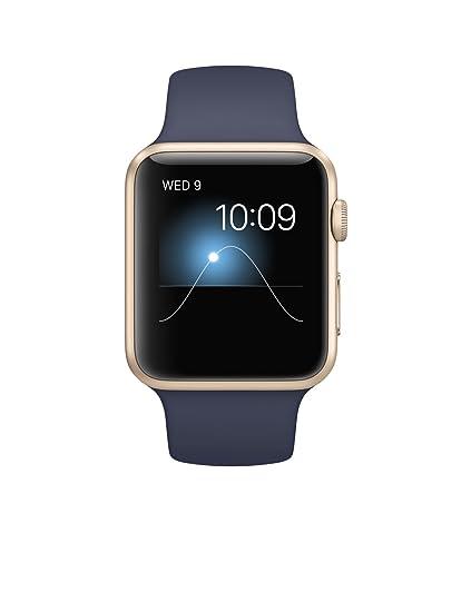 low priced 640f6 3a180 Apple Watch Gen 1 Sport 42mm Gold Aluminum - Midnight Blue Sport Band  MLC72LL/A