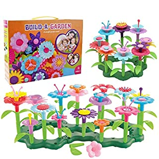 Flower Garden Building Toys for Girls - Toy Gardening Pretend Gift for Kids - Stacking Game for Toddlers playset - Educational Activity for Preschool Children Age 3 4 5 6 7 Year Old(148pcs)