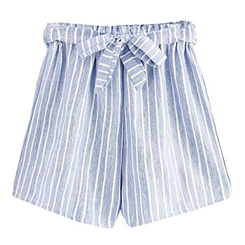 JOFOW Womens Shorts Vertical Striped Cotton Linen Mini Pants Strappy Drawstring Tie Casual High Waist Loose A Line Trousers (XL,Light Blue) ()