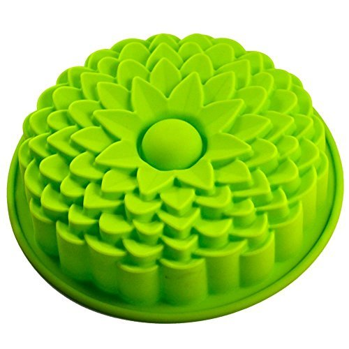 """Longzang 9"""" Sunflower Bread Pie Flan Tart Birthday Party Cake Silicone Mold Pan Bakeware (Colors may vary)"""
