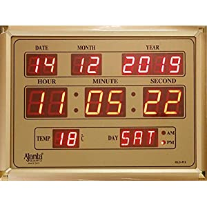 Ajanta Quartz Digital Red LED Rectangle Wall Clock OLC – 113 (39.6 cm x 29.6 cm x 3.5 cm, Golden)