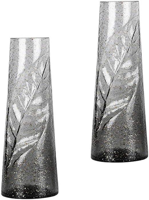 Amazon Com Jjxzm Flowers Vase 28cm Tall Leaves Carved Gold Foil Glass Vase Nordic Luxury Flower Arrangement European Board Room Home Decoration Set Of 2 Color Gray Home Kitchen