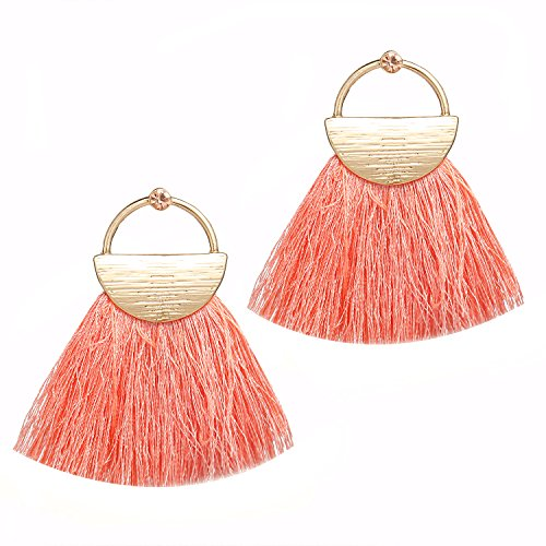 Fringe Body - Bohemian Statement Tassel Earrings Thread Chandelier Drop Dangle Earrings Beaded Fringe Mother of Pearl Tassel Earrings (Pink-rhinestone)