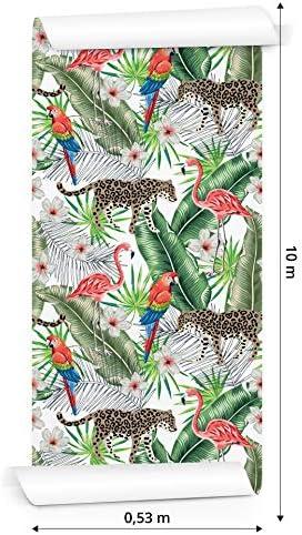 Muralo Papier Peint Animaux Exotiques dans la Jungle Vinyle Color/é Moderne For/êt 240774682