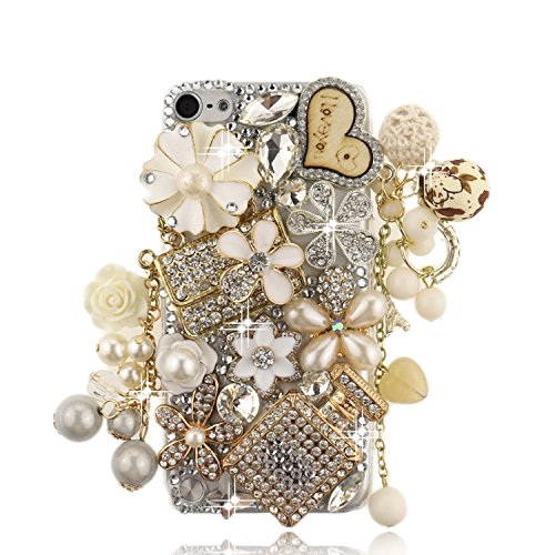 iPod Touch 5 Case, Sense-TE Glamour Crystal 3D Handmade Sparkle Glitter Handbag LOVE Heart Pendant Flowers Floral Pearl Drop Gem Rhinestone iPod Case Clear Cover with Retro Bowknot Anti Dust Plug