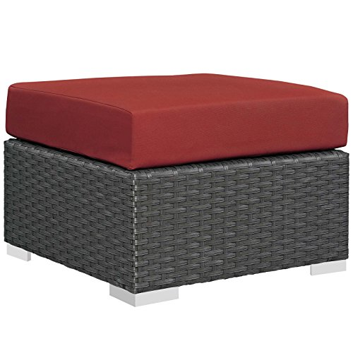 - Modway EEI-1855-CHC-RED Sojourn Outdoor Patio Sunbrella Ottoman in Canvas Red