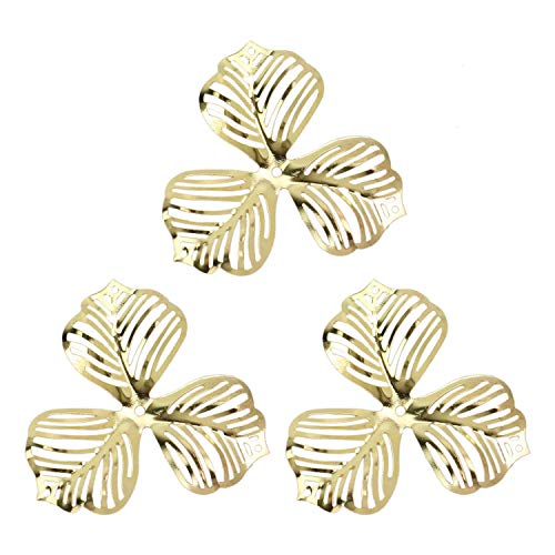 Monrocco 100 Pack Gold Filigree Flower Charms Pendant Metal Hollowed Wrap Charm Pendant Connector for Jewelry Making - Flower Charm Filigree