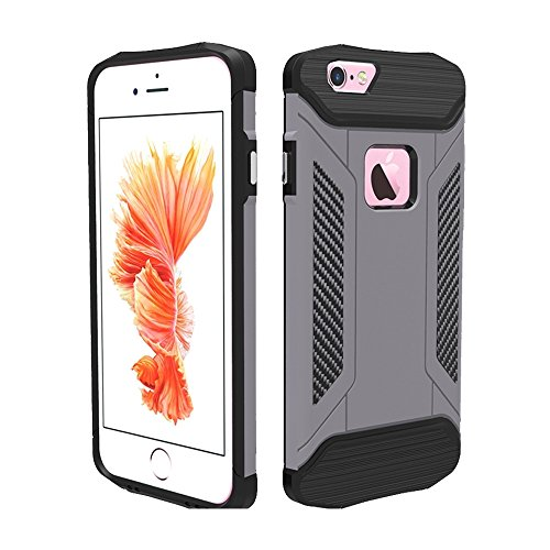 Phone Taschen & Schalen Für iPhone 6 Plus und 6s Plus TPU + PC Stahl Rüstungskoffer ( Color : Grey )