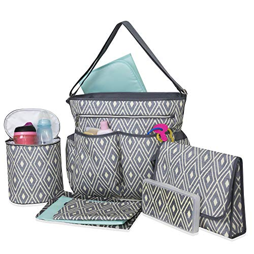 Baby Essentials Diaper Bag Tote 8 Piece Set with Adjustable Crossbody Strap, Insulated Bottle Cooler, Portable Changing Pad, Wipes Dispenser, Paci Pouch, and More