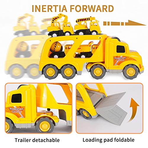 AISFA Construction Vehicles Transport Truck Carrier Toy Toy Cars Light Transport Cargo Truck Dumper Truck, Mixer, Excavator, Crane, Thickened Material Toys Set for 3 4 5 6 Years Old Kids Toddler Boy