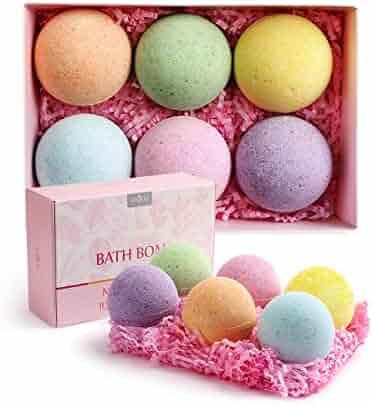 Anjou Bath Bombs Gift Set, 6 x 4.0 oz Vegan Natural Essential Oils, lush Fizzy Spa Moisturizes Dry Skin, Bubble Baths, Perfect Gift Kit Ideas for Girlfriends, Women, Moms