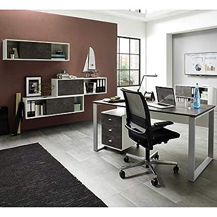 Completo juego de muebles oficina ○ Color Blanco Basalto oscuro ...