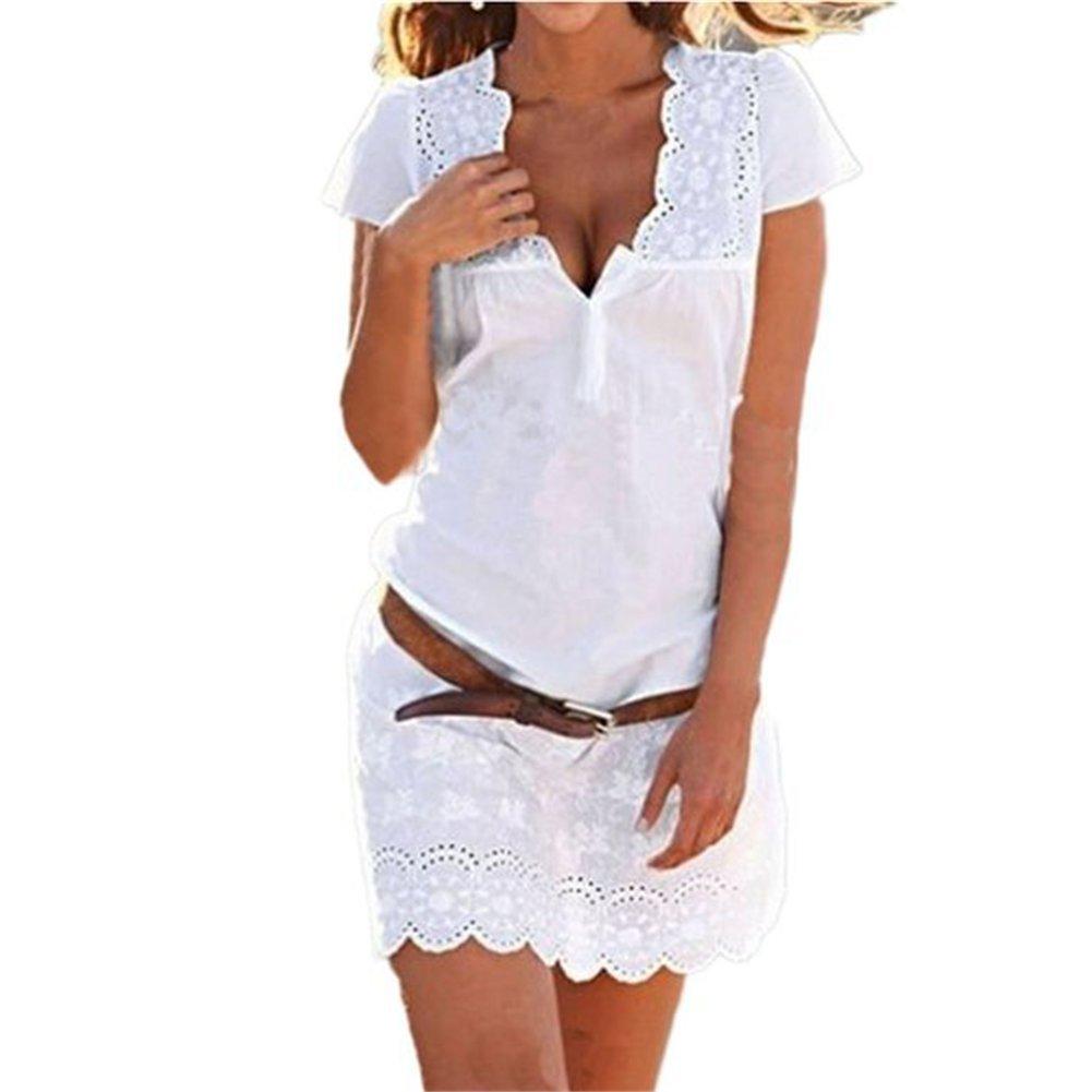 senza cinghia Pacyer/® Donna Cowboy Casuale Vestito Estivo allentati casuali maniche corte di sera del partito bicchierino della spiaggia Vestitino S, A-Bianco