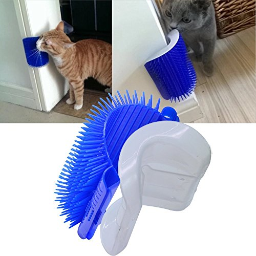 Cat Self Grooming Brush with Catnip,Cat Corner Groomer,Wall Corner Massage Comb,Grooming Brush, Perfect Massager Tool for Long & Short Fur Cats/Dogs/Horses(Blue)