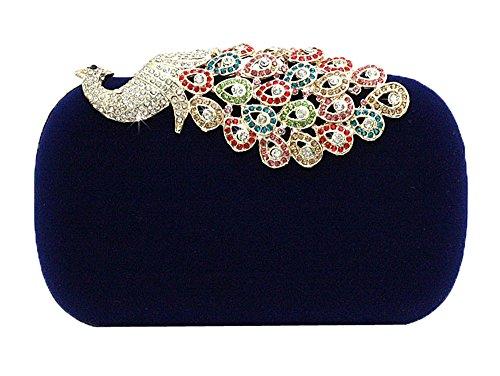 niceEshop(TM) Negro Bolsos de Diamante Patrón Pavo Real de Terciopelo de la Noche de Fiesta para las Mujeres Azul
