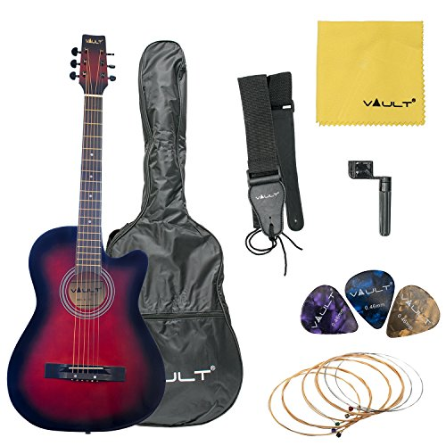 Vault 38C Cutaway Acoustic Guitar with Gig Bag, Strings, Strap, Picks, and String Winder - Redburst