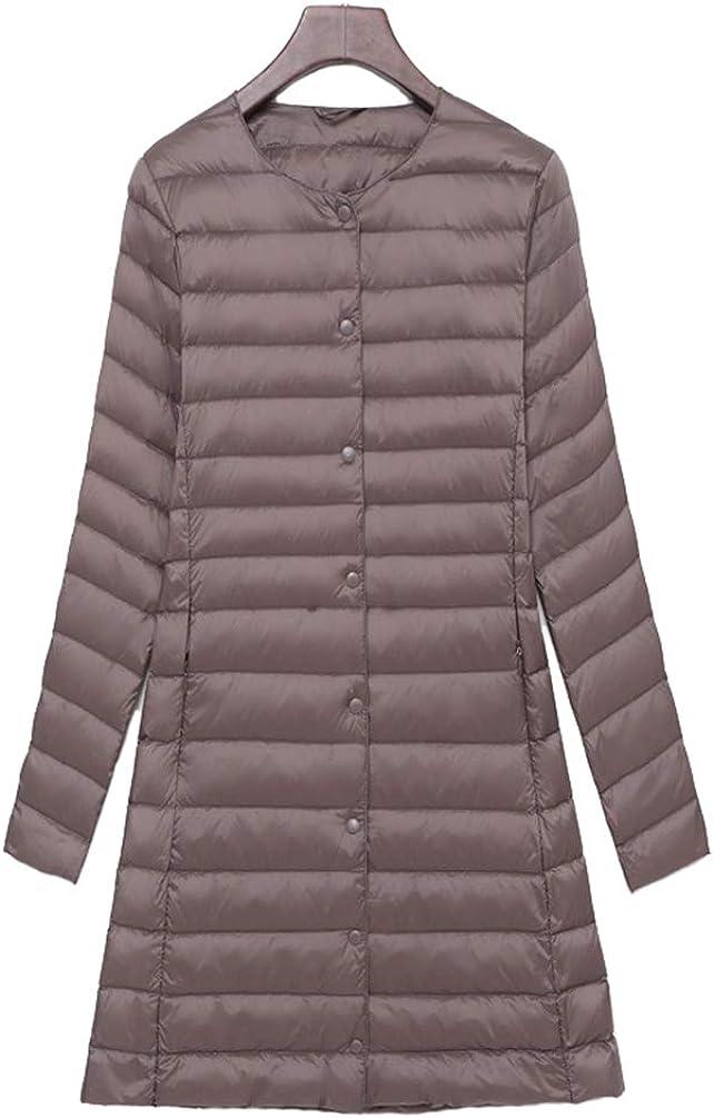 TieNew Women Down Jacket Lightweight Packable Winter Jacket Button Long Sleeve Down Jacket
