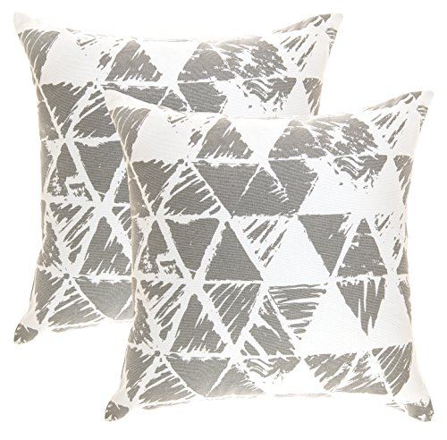 TreeWool, (2 Pack) Throw Pillow Covers Ikat Triangle Accent Decorative Pillowcases Toss Pillow Cushion Shams Slips Covers for Sofa Couch (20 x 20 Inches / 50 x 50 cm; Sleet Grey), White (Geometric Toss Pillow)