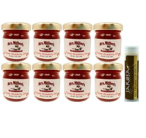 Mrs. Miller's Amish Homemade Strawberry Rhubarb Jam Minis 1.5 Ounces - Pack of 8 (No Corn Sugar) with a Jarosa Bee Organic Chocolate Bliss Lip Balm by Jarosa Gifts