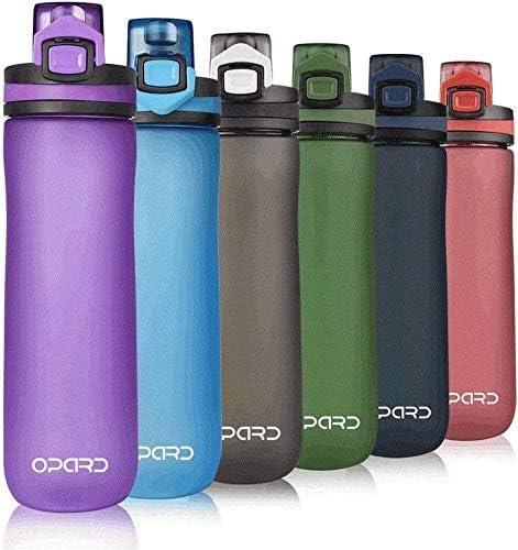 600 ml color morado no t/óxica con tapa abatible a prueba de fugas fitness Opard Botella de agua deportiva camping para gimnasio botella de pl/ástico Tritan sin BPA yoga