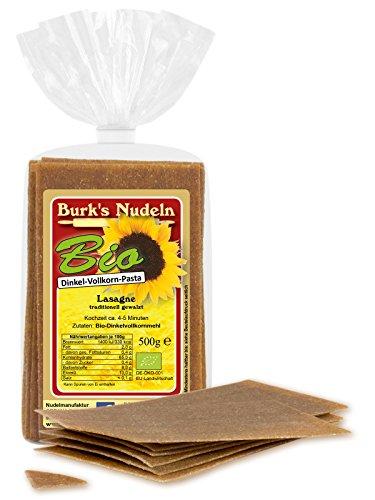 Burk's Bio Dinkel-Vollkorn Lasagne - gewalzte Pasta ohne Ei (500 g)